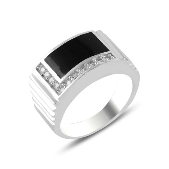 Ürün resmi: Rodyum Kaplama Zirkon Taş & Mineli Gümüş Erkek Yüzük