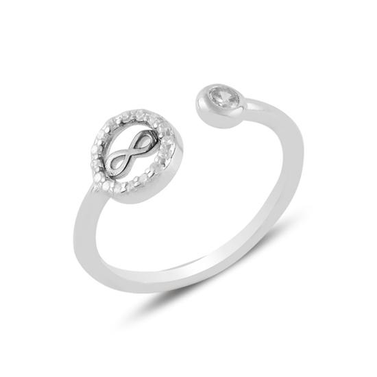 Ürün resmi: Rodyum Kaplama Sonsuzluk Zirkon Taşlı Ayarlanabilir Boylu Gümüş Bayan Yüzük