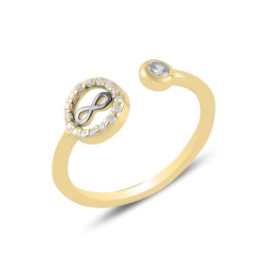 Ürün resmi: Altın Kaplama Sonsuzluk Zirkon Taşlı Ayarlanabilir Boylu Gümüş Bayan Yüzük