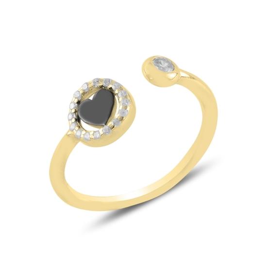 Ürün resmi: Altın Kaplama Kalp Zirkon Taşlı Ayarlanabilir Boylu Gümüş Bayan Yüzük