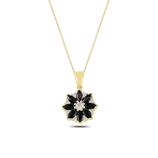 Ürün resmi: Altın Kaplama Çiçek Siyah Zirkon Taşlı Gümüş Bayan Kolye