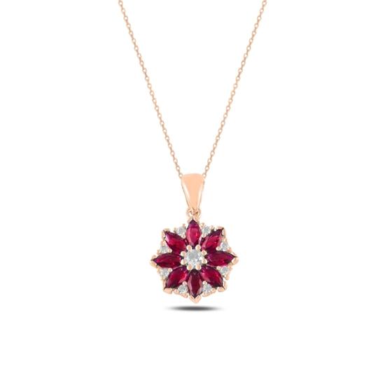Ürün resmi: Rose Kaplama Çiçek Yakut Zirkon Taşlı Gümüş Bayan Kolye