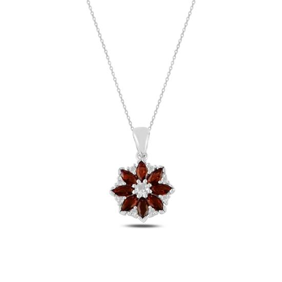 Ürün resmi: Rodyum Kaplama Çiçek Garnet Zirkon Taşlı Gümüş Bayan Kolye