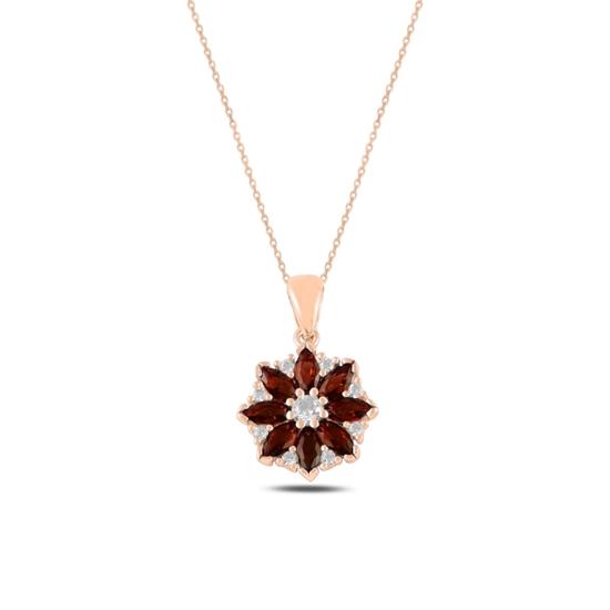 Ürün resmi: Rose Kaplama Çiçek Garnet Zirkon Taşlı Gümüş Bayan Kolye