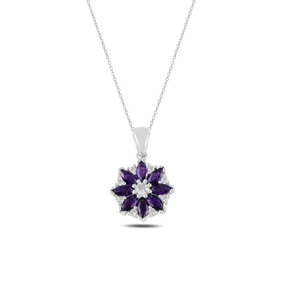 Ürün resmi: Rodyum Kaplama Çiçek Ametist Zirkon Taşlı Gümüş Bayan Kolye