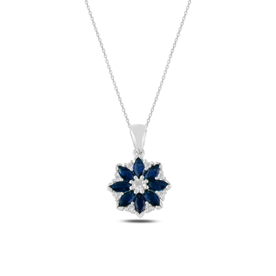 Ürün resmi: Rodyum Kaplama Çiçek Safir Zirkon Taşlı Gümüş Bayan Kolye