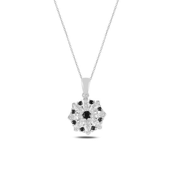 Ürün resmi: Rodyum Kaplama Çiçek Zirkon Taşlı Gümüş Bayan Kolye