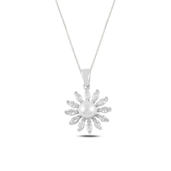 Ürün resmi: Rodyum Kaplama İnci & Zirkon Taşlı Gümüş Bayan Kolye