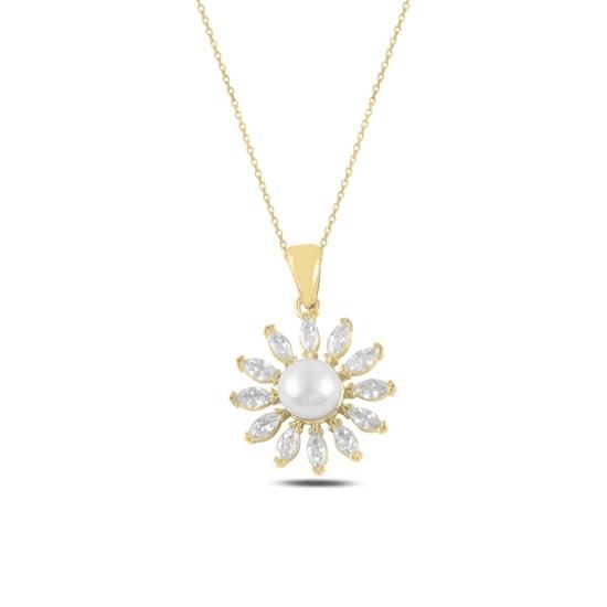 Ürün resmi: Altın Kaplama İnci & Zirkon Taşlı Gümüş Bayan Kolye
