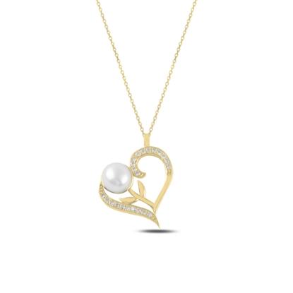 Resim Altın Kaplama Kalp İnci & Zirkon Taşlı Gümüş Bayan Kolye