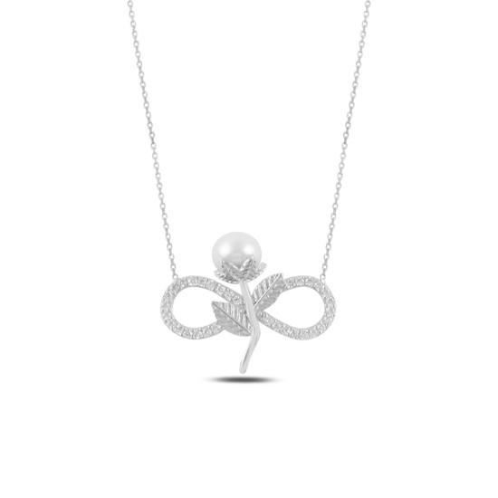 Ürün resmi: Rodyum Kaplama Sonsuzluk İnci & Zirkon Taşlı Gümüş Bayan Kolye