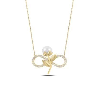 Resim Altın Kaplama Sonsuzluk İnci & Zirkon Taşlı Gümüş Bayan Kolye