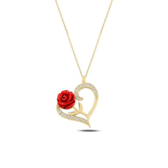 Ürün resmi: Altın Kaplama Kalp & Gül Zirkon Taşlı Gümüş Bayan Kolye
