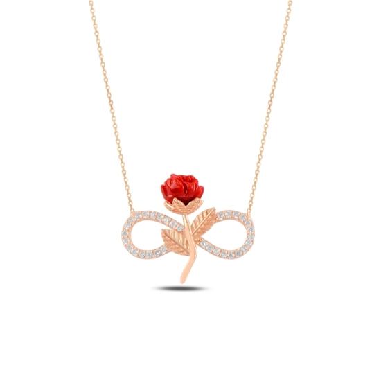 Ürün resmi: Rose Kaplama Sonsuzluk & Gül Zirkon Taşlı Gümüş Bayan Kolye