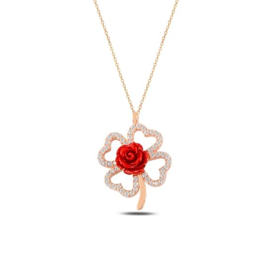 Ürün resmi: Rose Kaplama Yonca & Gül Zirkon Taşlı Gümüş Bayan Kolye