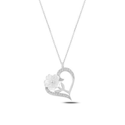 Resim Rodyum Kaplama Kalp Sedef & Zirkon Taşlı Gümüş Bayan Kolye