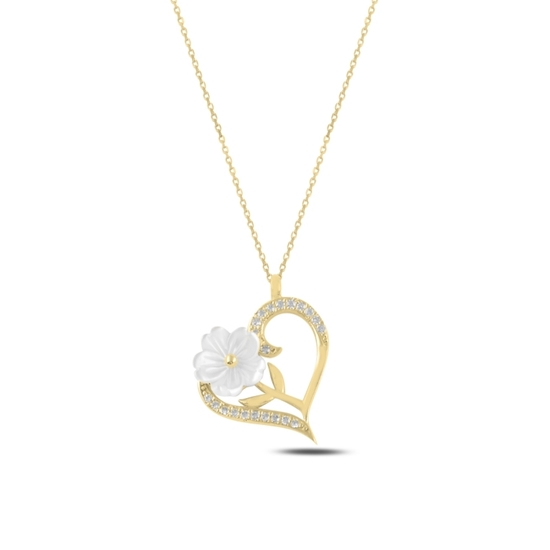 Ürün resmi: Altın Kaplama Kalp Sedef & Zirkon Taşlı Gümüş Bayan Kolye