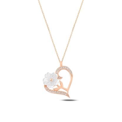 Resim Rose Kaplama Kalp Sedef & Zirkon Taşlı Gümüş Bayan Kolye