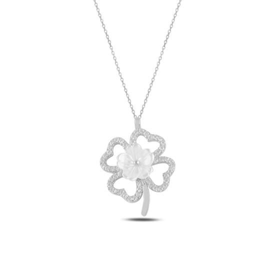 Ürün resmi: Rodyum Kaplama Yonca Sedef & Zirkon Taşlı Gümüş Bayan Kolye