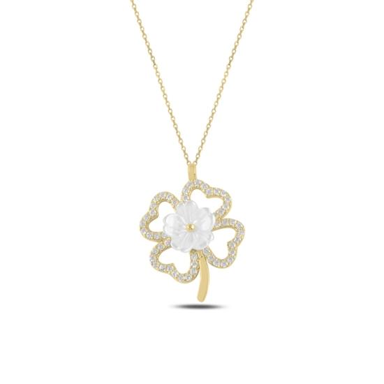 Ürün resmi: Altın Kaplama Yonca Sedef & Zirkon Taşlı Gümüş Bayan Kolye