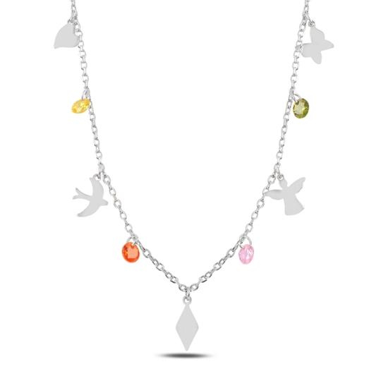 Ürün resmi: Rodyum Kaplama Sallantılı Karışık Desen & Renkli Zirkon Taşlı Gümüş Bayan Kolye