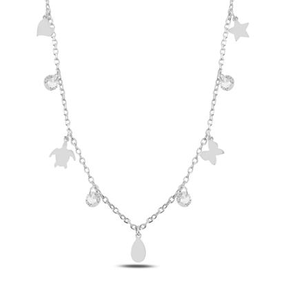 Resim Rodyum Kaplama Sallantılı Karışık Desen & Zirkon Taşlı Gümüş Bayan Kolye