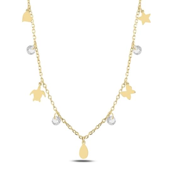 Ürün resmi: Altın Kaplama Sallantılı Karışık Desen & Zirkon Taşlı Gümüş Bayan Kolye