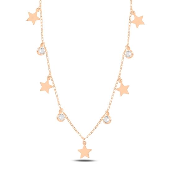 Ürün resmi: Rose Kaplama Sallantılı Yıldız & Zirkon Taşlı Gümüş Bayan Kolye