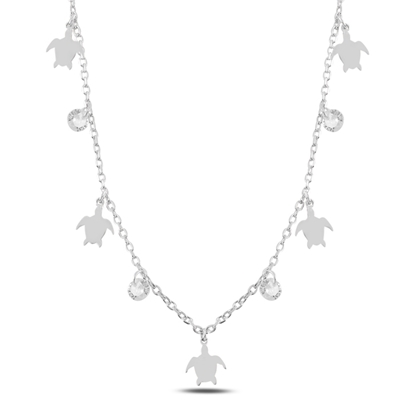 Resim Rodyum Kaplama Sallantılı Kaplumbağa & Zirkon Taşlı Gümüş Bayan Kolye
