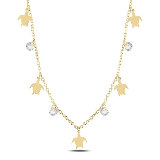 Ürün resmi: Altın Kaplama Sallantılı Kaplumbağa & Zirkon Taşlı Gümüş Bayan Kolye