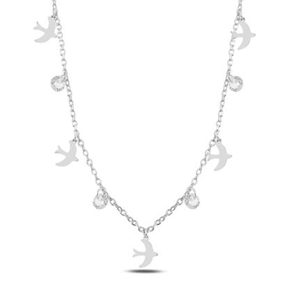 Resim Rodyum Kaplama Sallantılı Kuş & Zirkon Taşlı Gümüş Bayan Kolye