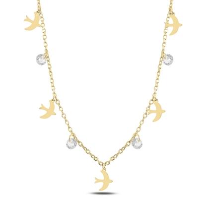 Resim Altın Kaplama Sallantılı Kuş & Zirkon Taşlı Gümüş Bayan Kolye