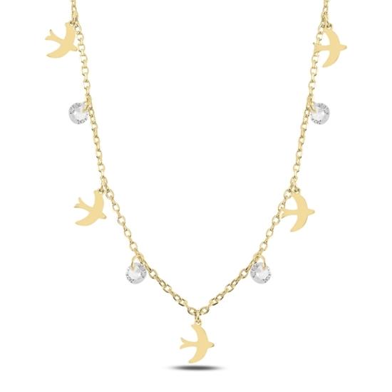 Ürün resmi: Altın Kaplama Sallantılı Kuş & Zirkon Taşlı Gümüş Bayan Kolye