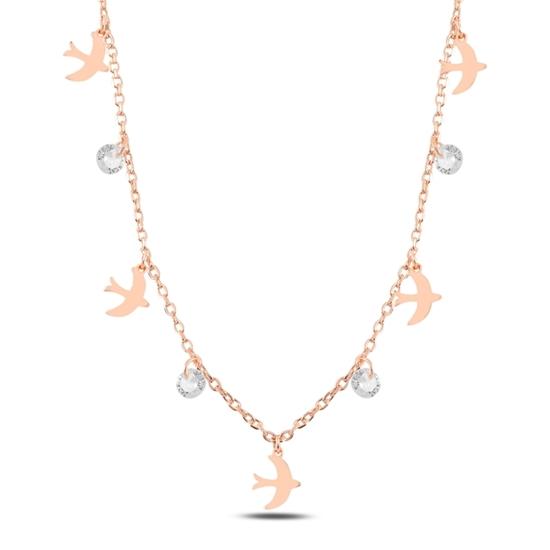 Ürün resmi: Rose Kaplama Sallantılı Kuş & Zirkon Taşlı Gümüş Bayan Kolye