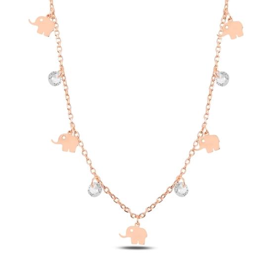 Ürün resmi: Rose Kaplama Sallantılı Fil & Zirkon Taşlı Gümüş Bayan Kolye