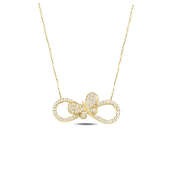 Ürün resmi: Altın Kaplama Sonsuzluk & Kelebek Zirkon Taşlı Gümüş Bayan Kolye