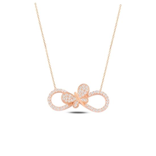Ürün resmi: Rose Kaplama Sonsuzluk & Kelebek Zirkon Taşlı Gümüş Bayan Kolye