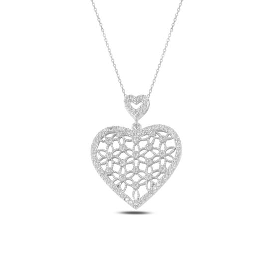 Ürün resmi: Rodyum Kaplama Kalp Yaşam Çiçeği Zirkon Taşlı Gümüş Bayan Hayalet Kolye