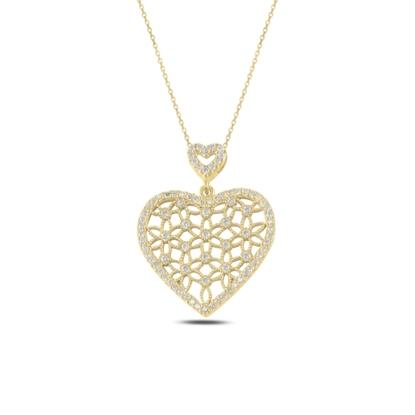Resim Altın Kaplama Kalp Yaşam Çiçeği Zirkon Taşlı Gümüş Bayan Hayalet Kolye