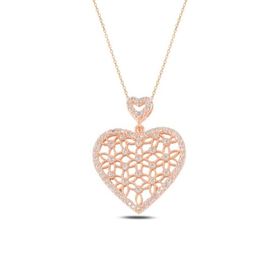 Ürün resmi: Rose Kaplama Kalp Yaşam Çiçeği Zirkon Taşlı Gümüş Bayan Hayalet Kolye