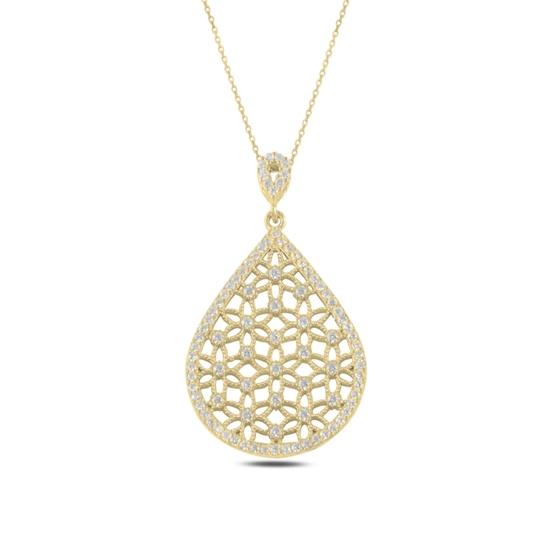 Ürün resmi: Altın Kaplama Damla Yaşam Çiçeği Zirkon Taşlı Gümüş Bayan Hayalet Kolye