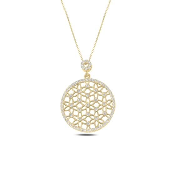 Ürün resmi: Altın Kaplama Yuvarlak Yaşam Çiçeği Zirkon Taşlı Gümüş Bayan Hayalet Kolye