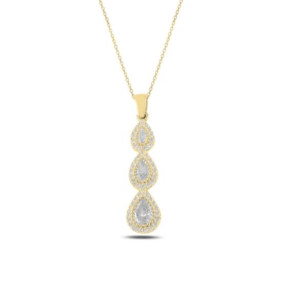 Ürün resmi: Altın Kaplama Damla Zirkon Taşlı Taşlı Gümüş Bayan Kolye