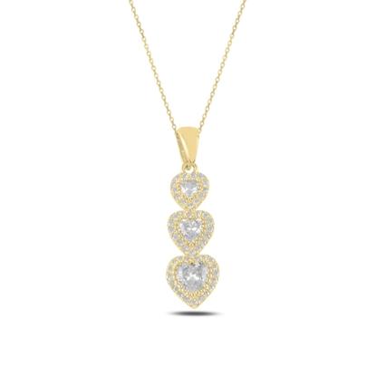Resim Altın Kaplama Kalp Zirkon Taşlı Taşlı Gümüş Bayan Kolye