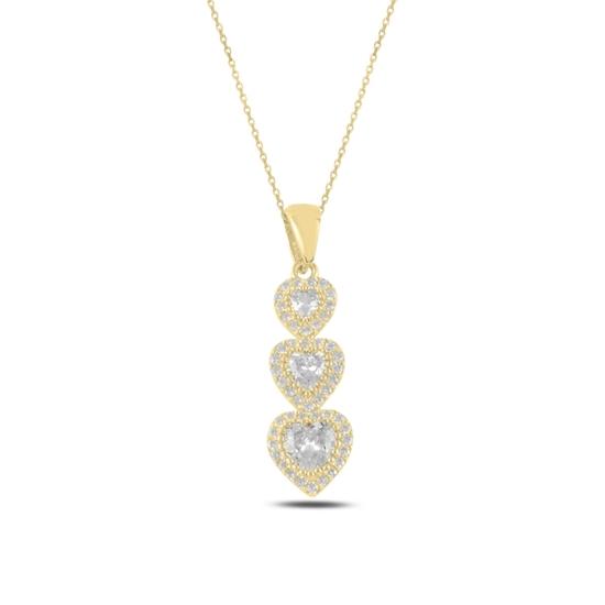 Ürün resmi: Altın Kaplama Kalp Zirkon Taşlı Taşlı Gümüş Bayan Kolye