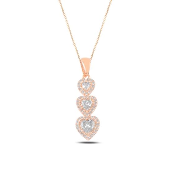 Ürün resmi: Rose Kaplama Kalp Zirkon Taşlı Taşlı Gümüş Bayan Kolye