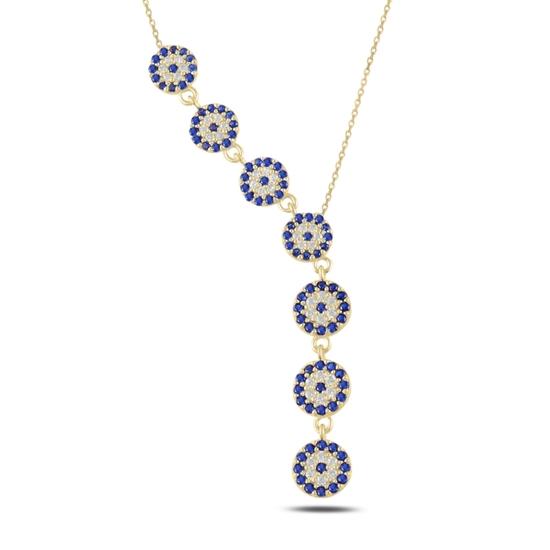 Ürün resmi: Altın Kaplama Sosyete Gözü Zirkon Taşlı Sallantılı Gümüş Bayan Y Kolye