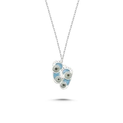 Resim Rodyum Kaplama Ayak İzi Simli Mavi Mineli Gümüş Bayan Kolye