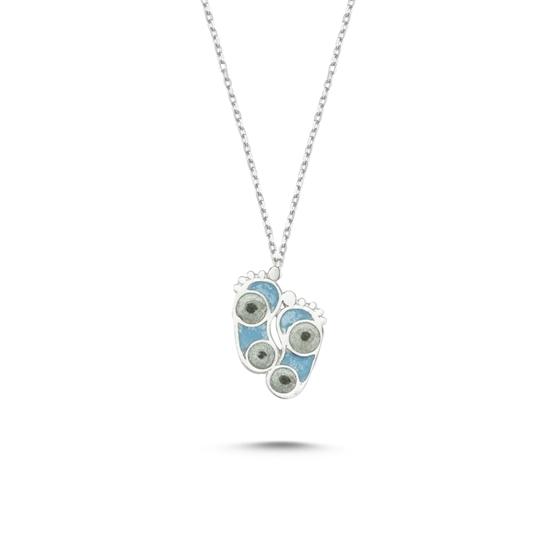 Ürün resmi: Rodyum Kaplama Ayak İzi Simli Mavi Mineli Gümüş Bayan Kolye