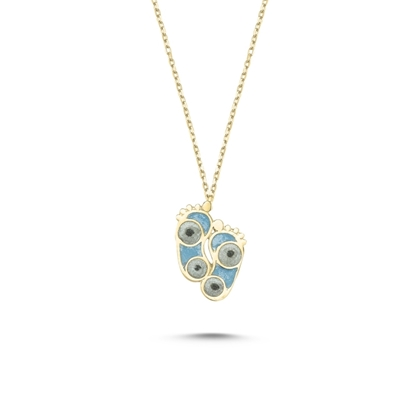 Resim Altın Kaplama Ayak İzi Simli Mavi Mineli Gümüş Bayan Kolye
